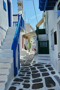 Mykonos street with residences