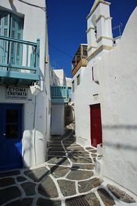 Residential street in Mykonos