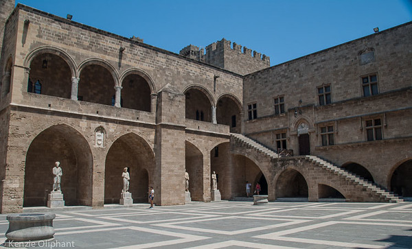 Rhodes Castle of the Grand Masters courtyard