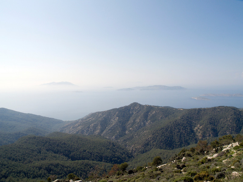 Rhodos westcoast, between Embonas and Siana, on the road to the top of Mt. Ataviros, islands of Chalki and Alimnia in the distance
