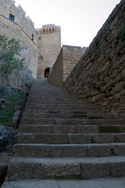 Lindos castle, entrance steps