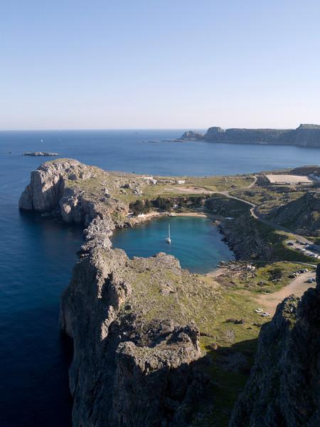 Paulus Bay, as seen from Lindos akropolis
