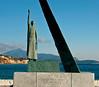 Statue of the Samian mathematician Pythagoras (580 - 496 BC), Pythagorio, Samos, Greece, 31 December 2008 2    Turkey is in the background.