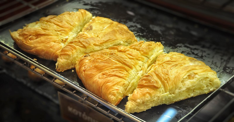 Chicken Pies in Horiatiko Pastry Shop. 2017.