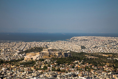 Panorama from Mount Lycabettus (Elevation: 908 feet) with a view of The Parthenon on The Acropolis (Elevation: 490 feet).  Athens, Greece.