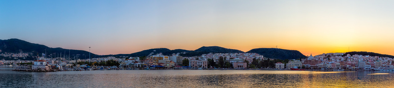 The harbor on the Greek Island of Lesvos at sunset.