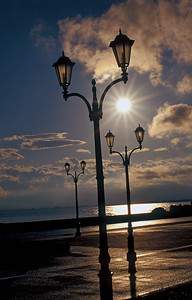 Street Lamps on Pier of Nafplio Port