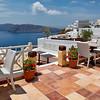 Terra cotta deck overlooking Santorini caldera