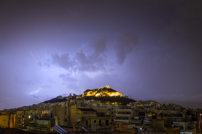 Lightning Over Lycabettus Hill