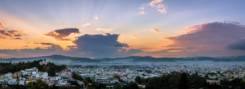 Athens Greece at sunset.