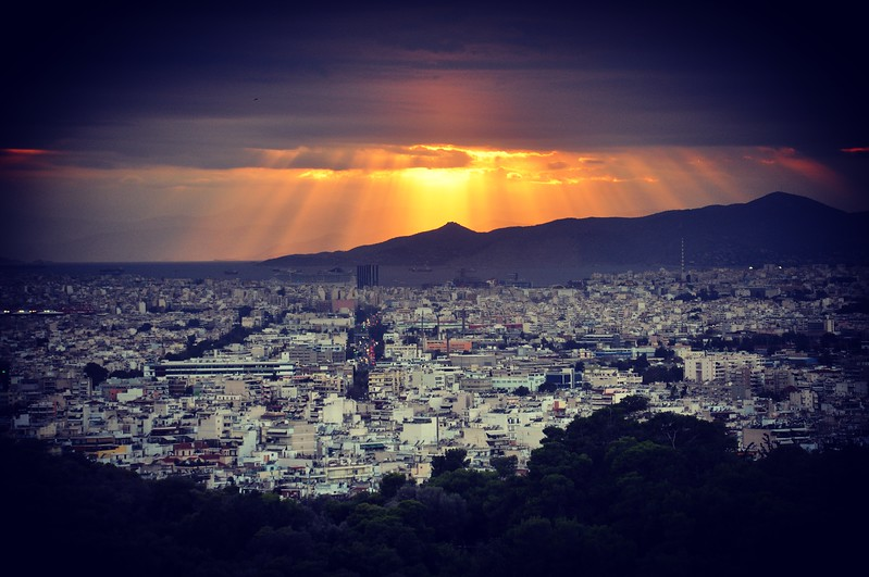 Sunset over Piraeus and Mount Aigaleo from the Acropolis.