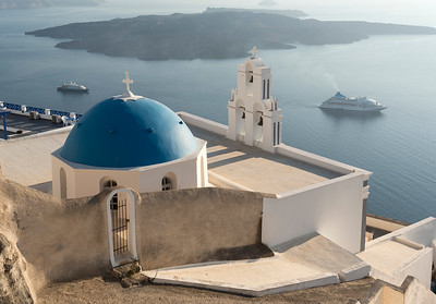 Firostefani Church and Cruise Ship, Santorini