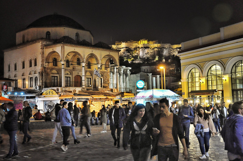 Monastiraki Square at Night. 2017.