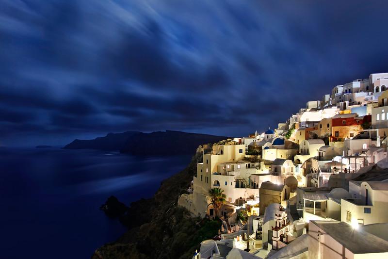 Time exposure at night of Santorini