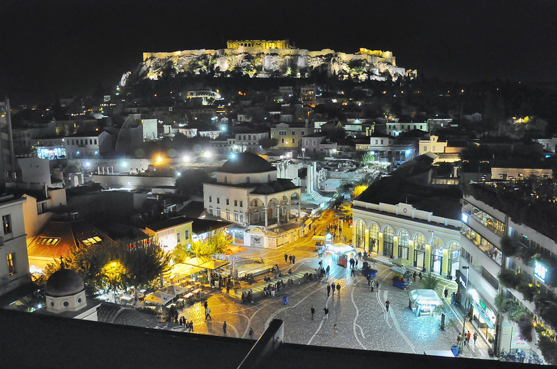 Monastiraki Square Below the Acropolis. 2017.