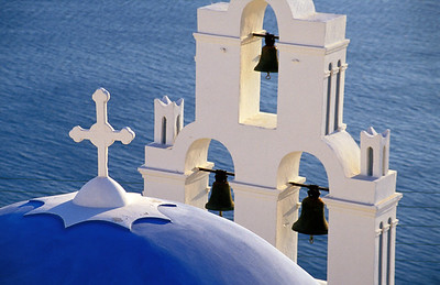 Blue Church Dome and Belfry, Santorini