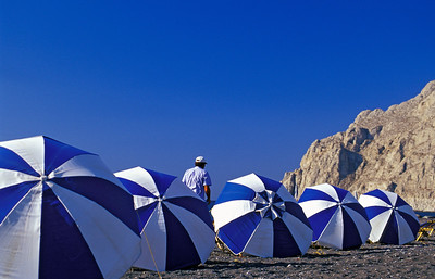 Blue and White Beach Umbrellas, Santorini