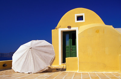 White Umbrella and Yellow Villa, Santorini