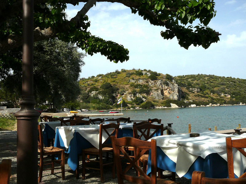 Every taverna had a stellar location.  Plus the wooden chairs with rush seats.  This one is in Ancient Epidavros.