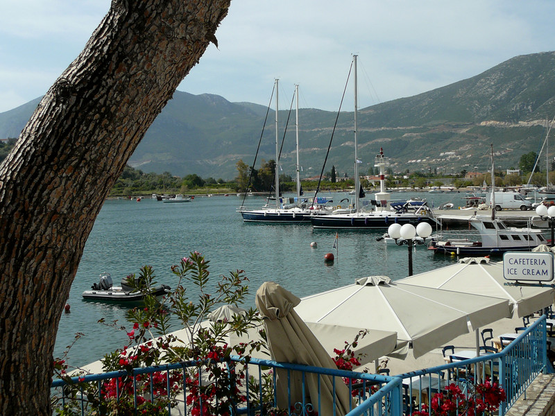 The tiny Port of Ancient Epidavros, fishing boats and pleasure yachts and tavernas on the Saronic Gulf.