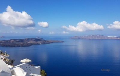 Views from the Golden Sunset Restaurant, Thira, Greece