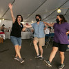 Dancing to some Greek music at the Holy Trinity Greek Orthodox Churches Greek Festival on Saturday Sept. 18, 2021 is, from left, Terry Bebis, Connie Bebis and Paula Martin. SENTINEL & ENTERPRISE/JOHN LOVE