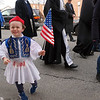 Three year old Evan Patrick Shannahan of Lowell is a Greek soldier during the annual Greek Independence Day parade. (The Sun / Chris Tierney)
