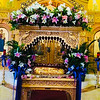 The Transfiguration Church's Epitaphios, beautifully decorated with fresh flowers and Easter lilies by the ladies Philoptochos. Inside is the Holy Icon depicting the tomb of Christ.