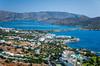 An aerial view of the seaside village of Elounda, Crete, Greece.