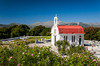 A small white church on the Lasithi Plateau in eastern Crete, Greece.