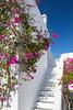 A white stairway and bougainvillea flowers in Mykonos Town, Chora, Mykonos, Greece, Europe.