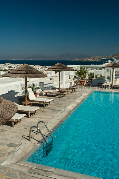 Pool area of a hotel in Hora on the Greek Island of Mykonos, Greece.