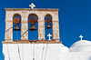 A church bell tower in Skala on the Greek island of Patmos.