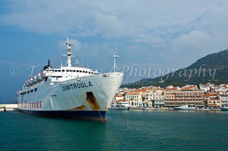 The  Greek ferry Dimitroula in the island harbor of Vathy, Samos, Greece.