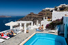 Apartment patio and pool decor in the village of Fira on the Greek Island of Santorini, Greece.