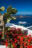 Cruise ships in the caldera of Santorini from Fira on the Greek Island of Santorini, Greece.