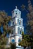 A church bell tower in Kamari on the Greek Island of Santorini, Greece.