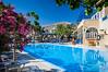 The pool area of the Herme's Hotel and resort in Kamari on the Greek Island of Santorini, Greece.