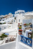 The village of Oia on the slopes of the caldera on the Greek Island of Santorini, Greece.