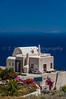 A typical island residence overlooking the Aegean Sea, Santorini, Greece.
