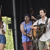 GREG SUKIENNIK -- MANCHESTER JOURNAL<br /> Left to right, Mipso members Libby Rodenbough (fiddle), Wood Robinson (double bass), and guitarist Joseph Terrell play during the Green Mountain Bluegrass & Roots Festival on Saturday.