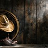 American West Rodeo Cowboy Hat on Boots and Lariat