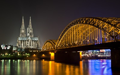 Bridge, the River, the Cathedral, Night Lights, Germany