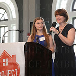 The Green Spark Youth Award went to Cayley Crum and ReTree Shively, Cayley Crum listened as Colleen Crum spoke.