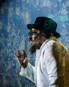 ***Note this is a composite created out of two images. Composite of Doc Nix with some fans cheering in the background. Photo by Evan Cantwell/Creative Services/George Mason University