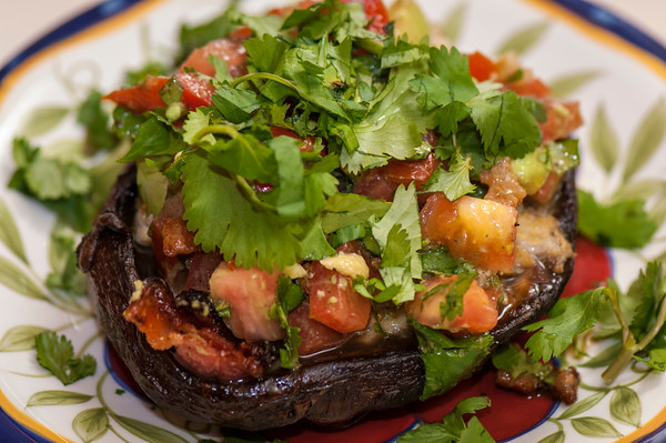 Kim West prepared this portobello tartlet with crab and Southwestern relish.