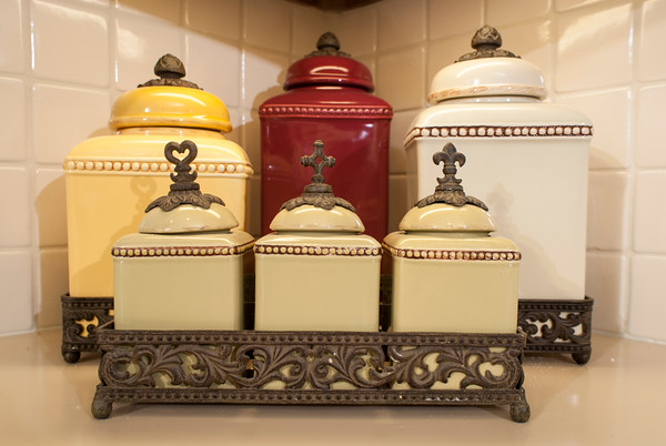 The kitchen canister set continues the color combinations used throughout the home.