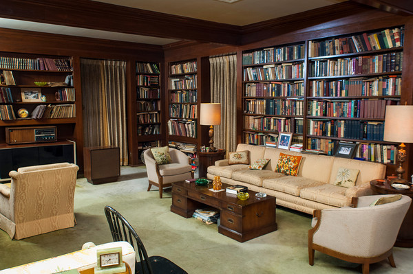 The library of the Boren home on Boston Street includes a vast book collection and a number of vintage items maintained the way Ron Boren's mother organized them.