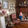 """""""Sarah McKenzie Johnson"""" – a mannequin Ken and Linda Johnson<br /> bought at an antique store in<br /> Denton, Texas - presides over one end of the formal dining room."""