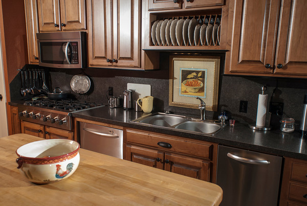 The kitchen offers a well-designed space for meal preparation.